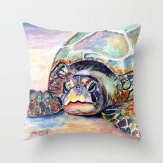 Turtle at Poipu Beach Throw Pillow