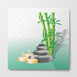 Meditation stones, bamboo and candles Metal Print