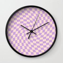 Check V - Lilac Twist — Checkerboard Print Wall Clock