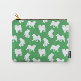 Samoyed Pattern (Green Background) Carry-All Pouch