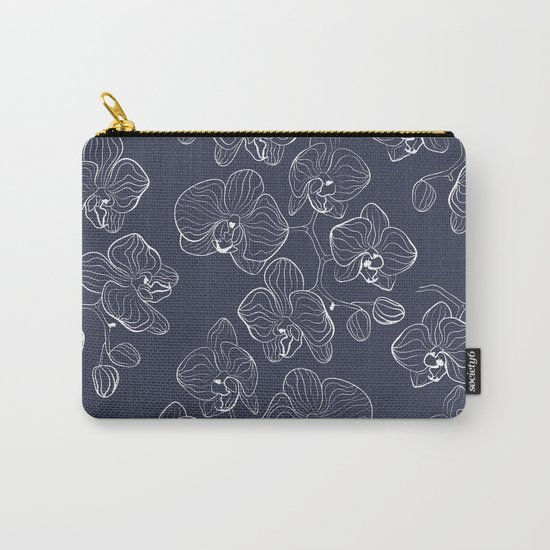 Retro . Orchid flowers on a blue background . Carry-All Pouch