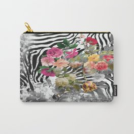 Flowers with Black and White Carry-All Pouch