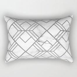 Geometrical white gray faux silver marble Rectangular Pillow