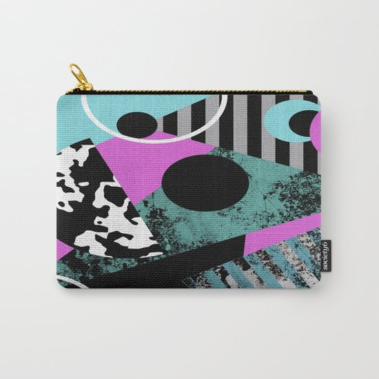 Bits N Pieces - Abstract, geometric, stripes, textured, pastel, blue, pink, black Carry-All Pouch