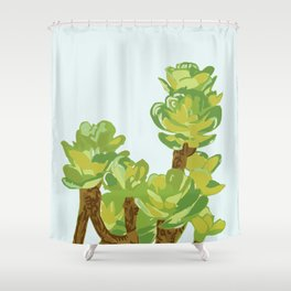 Portylacaria Afra Succulent Blue And Green Shower Curtain