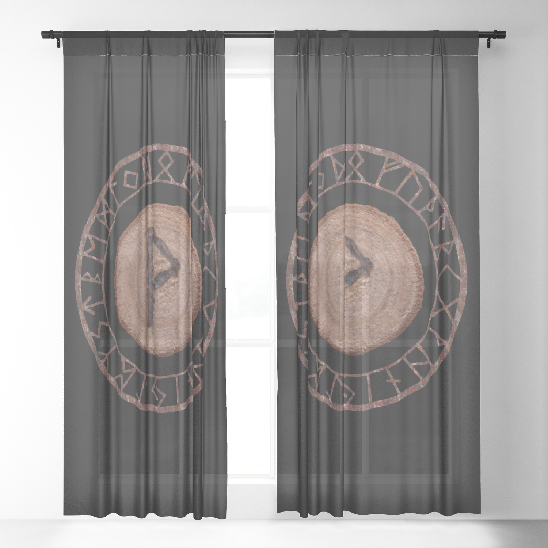 Wunjo Elder Futhark Rune Joy Comfort Pleasure Fellowship Harmony Prosperity Ecstasy Glory Sheer Curtain By Frozenlakemp