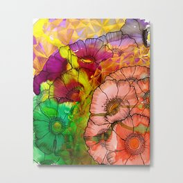 Modern Flowers and Shapes - Mixed Media Metal Print