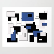 Squares - blue, gray, black and white. Art Print