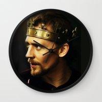 tom hiddleston Wall Clocks featuring Tom Hiddleston as Henry V by Wisp Wool
