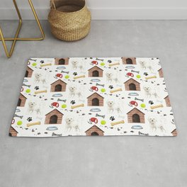 Bichon Frise Dog Half Drop Repeat Pattern Rug