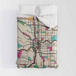 Colorful City Maps: Portland, Oregon Duvet Cover