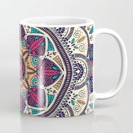 Ilustración Mandala colores rojos, azules, turquesa Coffee Mug