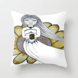 Daisy Girl by Saribelle Rodriguez Throw Pillow