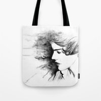 harry styles Tote Bags featuring harry styles by vulpae