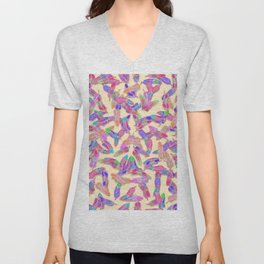 Girly Vibrant Bohemian Watercolor Feathers Pattern Unisex V-Neck