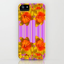 GOLDEN DAFFODILS PURPLE VIOLET MODERN ART iPhone Case