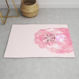 Lion Chewing Bubble Gum in Pink Rug