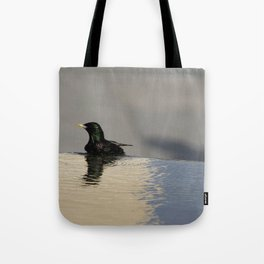 Little Purple and Green Bird on Blue Waters Edge Tote Bag