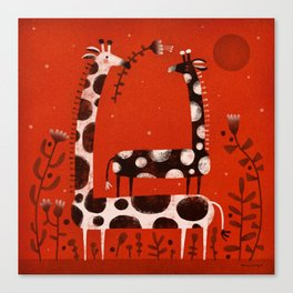PIGGY BACK GIRAFFE Canvas Print