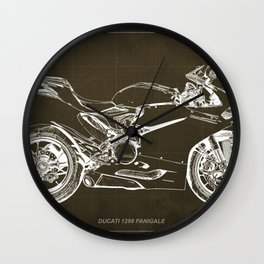 Motorcycle blueprint, Superbike 1299 Panigale, 2015,brown background, gift for men, classic bike Wall Clock