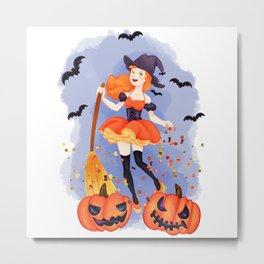 Halloween Little Witch Metal Print