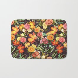 Autumn Flowers and Leaves Bath Mat