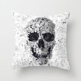 Doodle Skull BW Throw Pillow