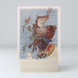 Vintage Scotland Robert The Bruce Illustrative Map (1912) Mini Art Print