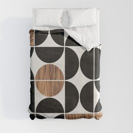 Mid-Century Modern Pattern No.1 - Concrete and Wood Duvet Cover
