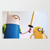 finn and jake Area & Throw Rugs featuring Heroes: Finn & Jake (Close) by Ben Christie