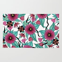 Girly Pink and Teal Watercolor Floral Illustration Rug