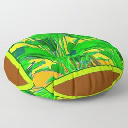 COFFEE BROWN TROPICAL GREEN & GOLD FOLIAGE ART Floor Pillow