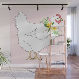 Spring Chicken Floral Illustrated Print Wall Mural