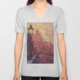 Watercolor painting of statues on Charles Bridge in medieval city of Prague- Czech Republic. Unisex V-Neck