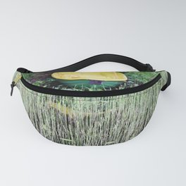 Yellow boat on lakeside Fanny Pack