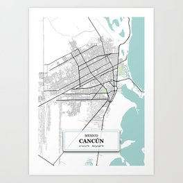 Cancun,Mexico City Map with GPS Coordinates Art Print