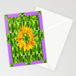 August  Peridots Gemstones & Yellow Sunflower  Lilac Abstract Stationery Cards