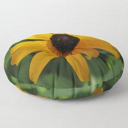 Golden glow of a black-eyed Susan, Rudbeckia Floor Pillow