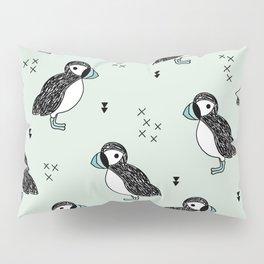 Cute Icelandic Puffin birds mint pattern Pillow Sham