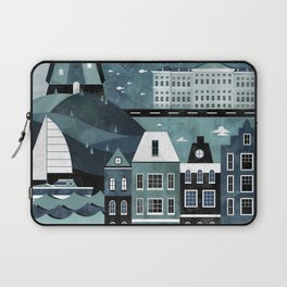 Amsterdam Travel Poster Laptop Sleeve