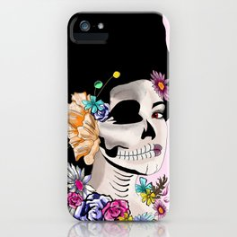 Sugar Skull Woman, Pink Background iPhone Case