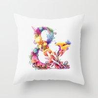 mushrooms Throw Pillows featuring Mushrooms & by Sasha Vinogradova