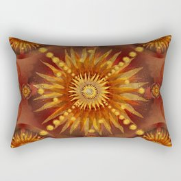 """Red Blood & Gold Vault Mandala (Gold stars)"" Rectangular Pillow"