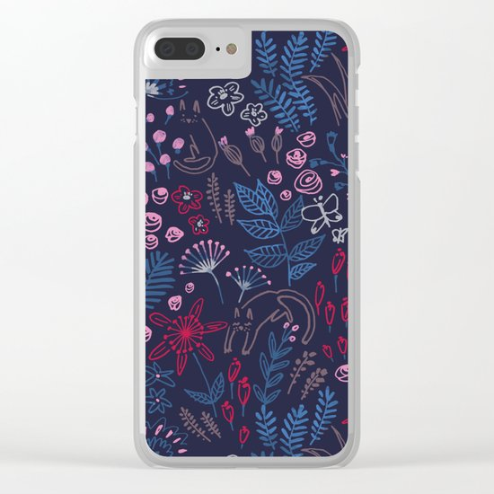 Flowers with cats pattern Clear iPhone Case