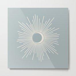 Sun and Moon Mid Century Modern Minimalism in Light Blue-Gray and Cream Metal Print