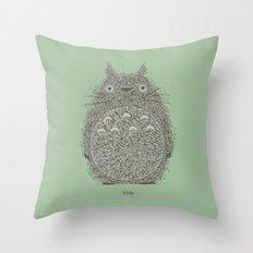 Green Totoro Throw Pillow