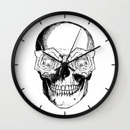 Skull and Roses | Skull and Flowers | Vintage Skull | Black and White | Wall Clock