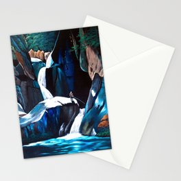 Fishing at a stream Stationery Cards