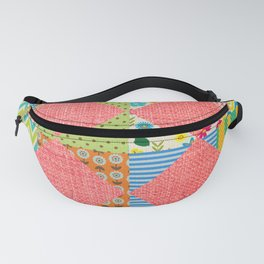 Pink patchwork print Fanny Pack
