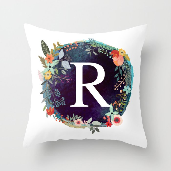 37fa30d21 Personalized Monogram Initial Letter R Floral Wreath Artwork Throw Pillow by  aba2life | Society6